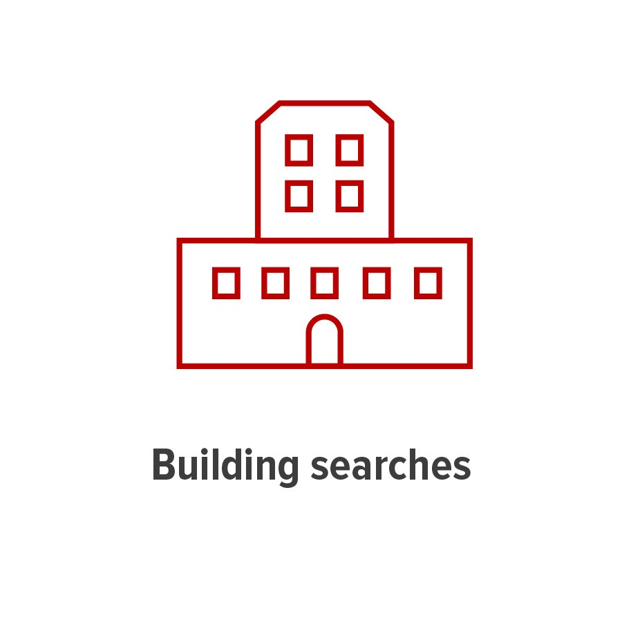 tile graphc representing building searches, a four-story building